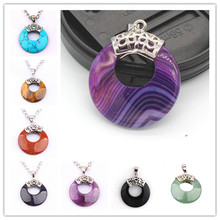 Kraft-beads Chinese Style Silver Plated Amethysts Round Hollow Tiger Eye Stone Pendant Vintage Agates Jewelry