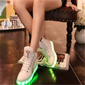 High quality seven-color LED luminous women high top casual shoes for USB charging adult black shoes white LED lights zapato