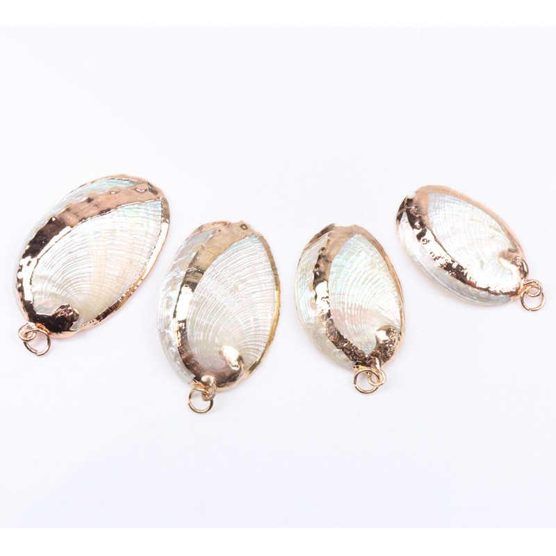 Muszla morze Concha urok naturalne złote potknięcia do tworzenia biżuterii Handmade 2 sztuk 25-50mm TRS0156