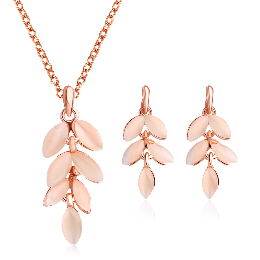 Jewelry-Sets Pendant Necklace Choker Opal Gifts Water-Drop-Earrings Rose-Gold-Color Bohemia