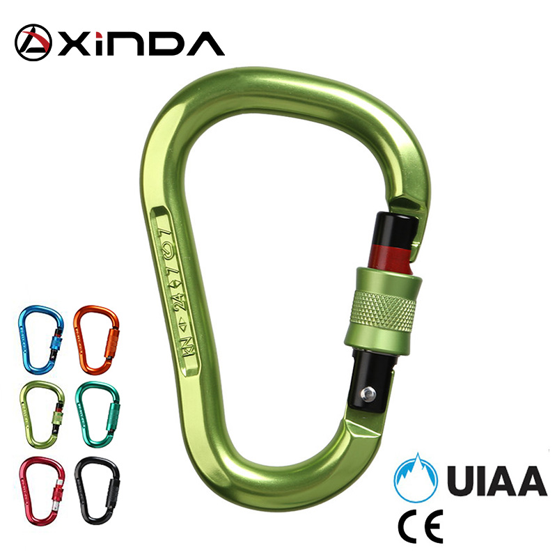 Xinda  Professional Safety Rock Climbing Carabiner 25KN Aluminum Alloy High Strength Camping Bent Pole Lock Outdoor Equipment