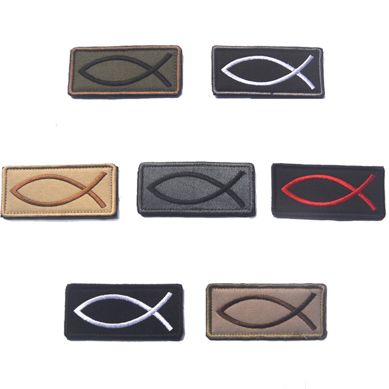 Sports Souvenir JESUS FISH Patch Rectangle Embroidery Flag Christian Fish Symbol Tactical Applique Armbands Badge Strap