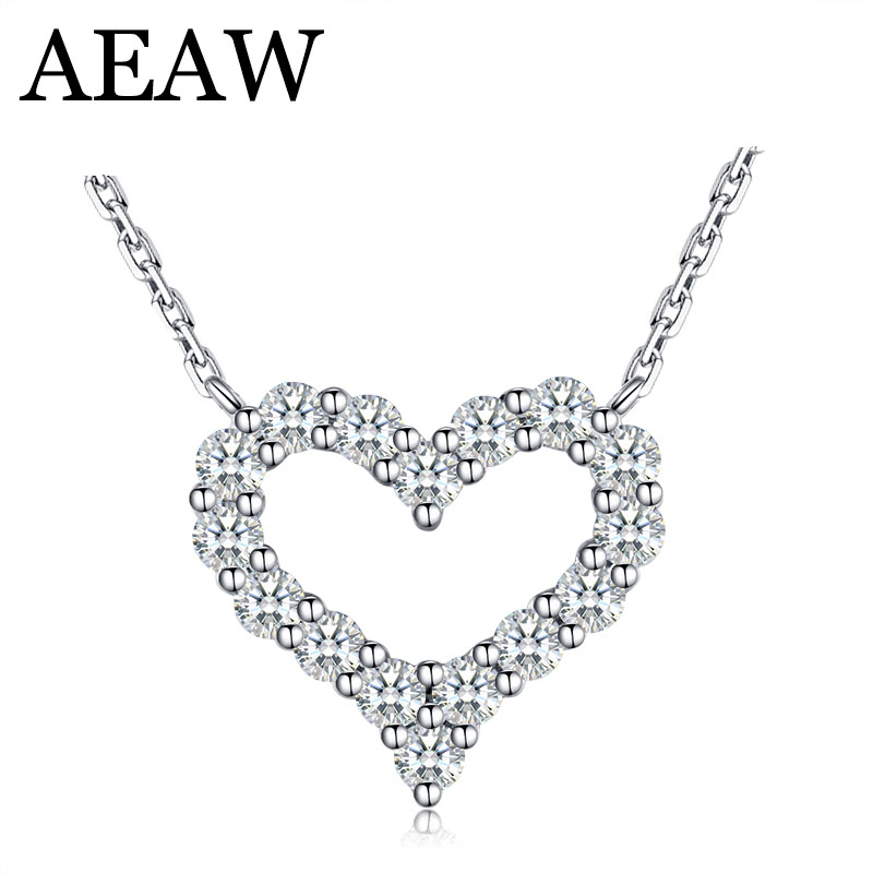 AEAW Heart Real 100% Real Diamond Wedding Necklace For Women Soild 14K 585 White Gold Pendant 16' Necklace Chain Fine Jewelry 18k 750 white gold pendant gh color round lab grown moissanite double heart necklace diamond pendant necklace for women jewelry