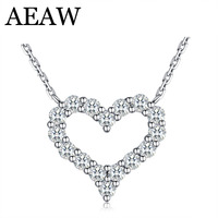 AEAW Heart Real 100% Real Diamond Wedding Necklace For Women Soild 14K 585 White Gold Pendant 16' Necklace Chain Fine Jewelry