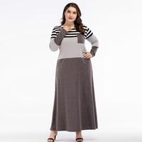 44f3d029050e 2018 Women Abayas Muslim Dress Dubai Abaya Striped Patchwork Grey With  Pocket Kaftan Islamic Arab Dresses