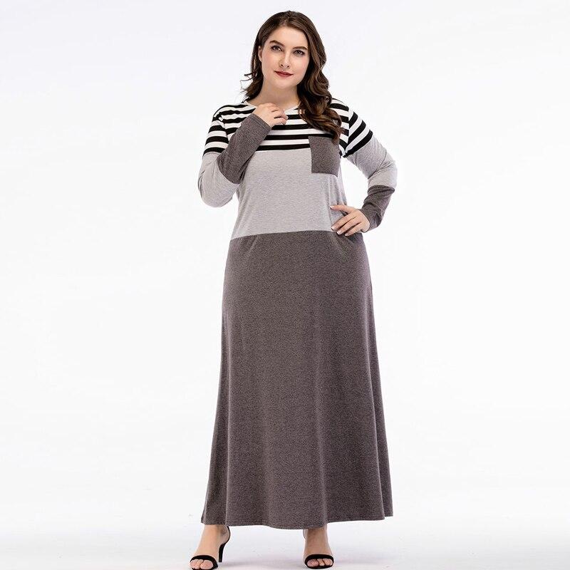 Women Abayas Muslim Dress Dubai Abaya Striped Patchwork Grey With Pocket Kaftan Islamic Arab Dresses Vestidos 3XL 4XL
