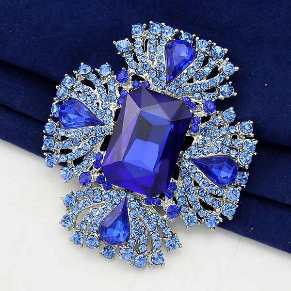 danbihuabi 2017 Elegant Blue Crystal Rhinestone Brooch for party pins and brooches for women