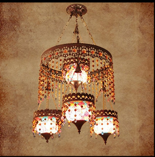 Diffuse Large Chandeliers Bohemian Cafe Mediterranean Southeast Asian Style Living Room Dining Chandelier Lighting Fixtures
