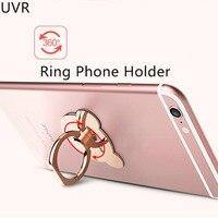 UVR 100 adet/grup Karikatür Ayı Kafası 360 Derece Döndür Metal Parmak Yüzük Tutucu iphone samsung Cep Telefonu için Standı cihaz