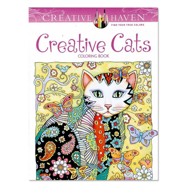1PCS New 24 Pages Creative Cats Coloring Book For Children Adult Relieve Stress Kill Time Graffiti Painting Drawing Art Book