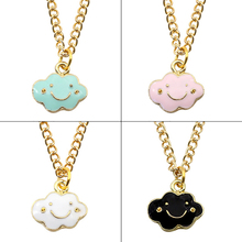 Anime DIY Fashion Creative Pendant Cute Smile Cloud Necklace Woman Pendant Gold Chain Childhood Jewelry Girl Gift Drop Shipping creative diy fashion plant pendant cartoon cactus necklace gold chain coconut necklace pendant female girl new year gift jewelry