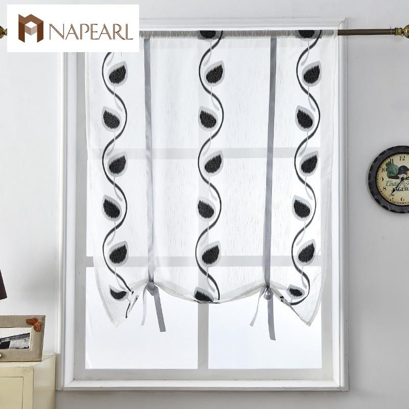F Fshort Curtains Kitchen Door Roman Blinds Voile Fabrics Red Black