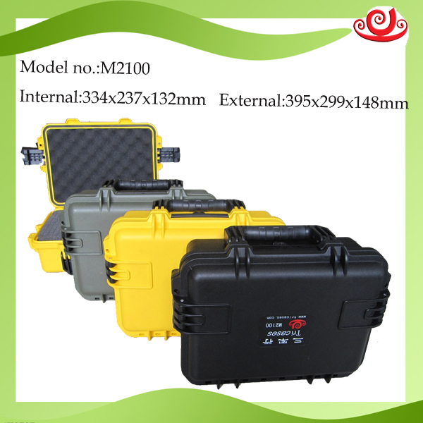 waterproof tool case toolbox suitcase Impact resistant sealed protective camera case camera case with pre-cut foam lining 2100