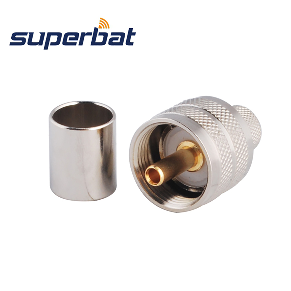 Superbat 10 Pcs Free Shipping RF Connector UHF Crimp Plug Male For RG8, RG213,RG214,LMR400 Cable