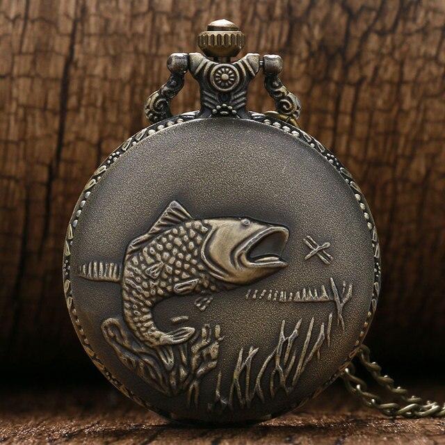 Vintage Bronze Cute FISH Design Pocket Watch Man Women Gift Quartz Watches with