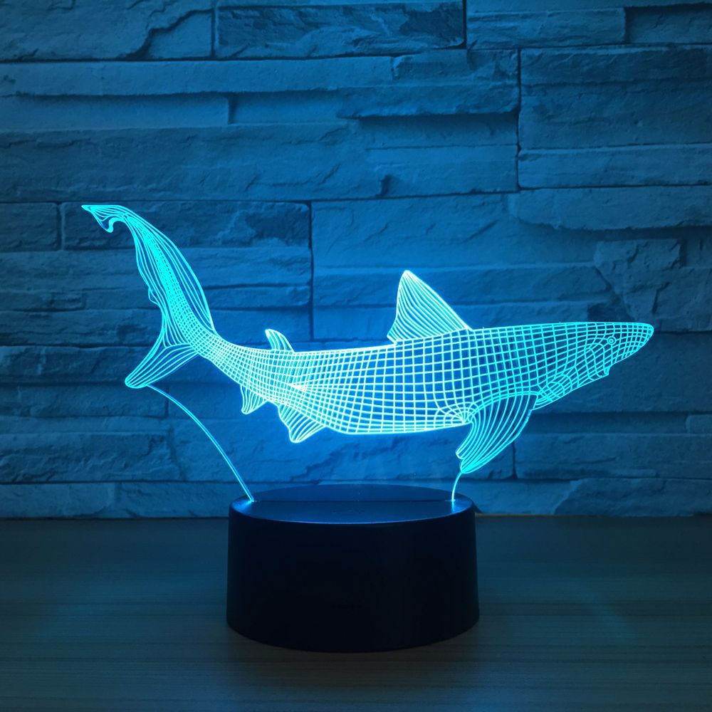New Shark 3D LED Fishing Tools Within Fish Table Lamp Home Decor Party 7 Colors Changing Night Light Bedside Sleep Decor Light