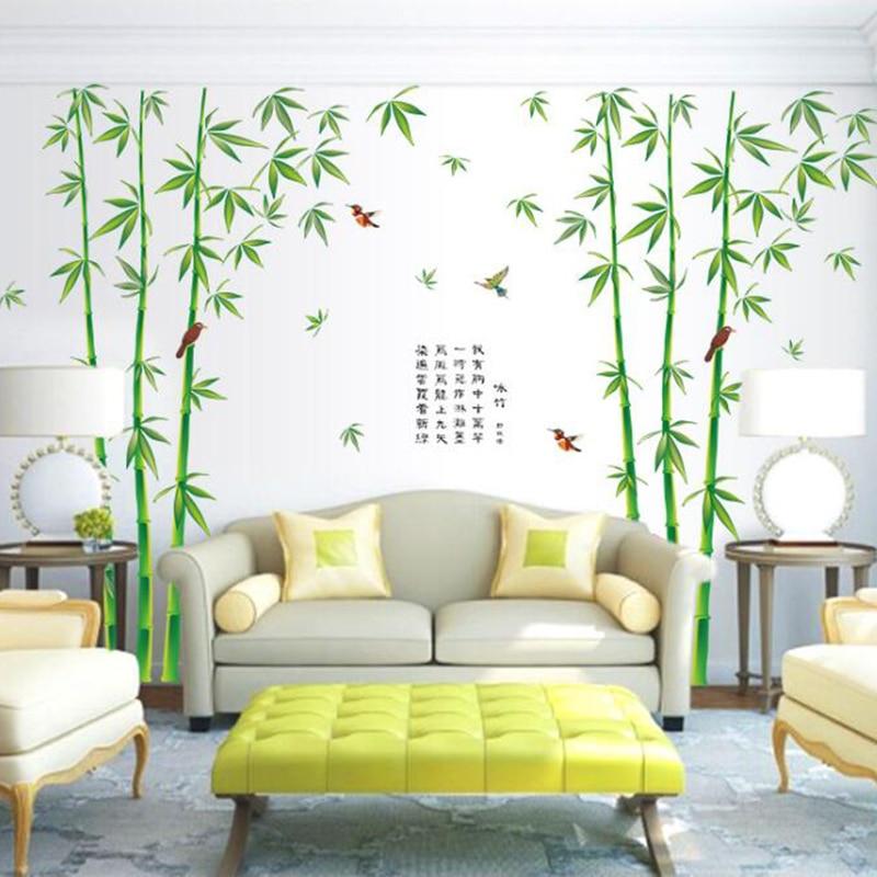Neue 2 teile/satz Große Grüne Bambus Wandaufkleber Für Schlafzimmer ...
