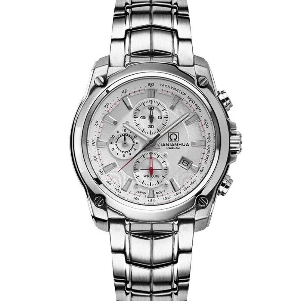 Carnival Mens Sports Waterproof Steel Watchband Triples Windows Quartz Watch Wristwatch - silver case white luminous
