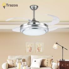 Trazos New Invisible Ceiling Fan With Lights For Living Room Ventilador de techo 42Inch Blade Remote LED Ceiling Fans 110V 220V
