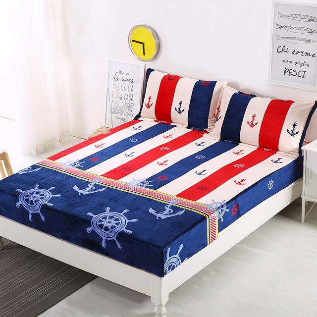 1 Piece Flannel Fitted Sheet Mattress Cover Printing Bedding Linens Plant  Guitar Sailing Bed Sheets 180cm
