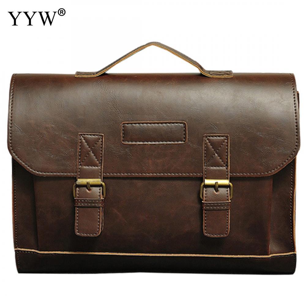 Men s Executive Briefcase Business Male Bag Brown Portfolio Tote Bags for Men New Black PU