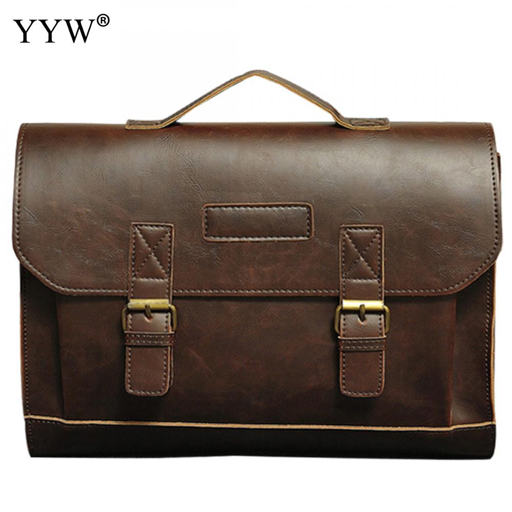 Men's Executive Briefcase Business Male Bag Brown Portfolio Tote Bags For Men New Black PU Leather Handbag A Case For Documents