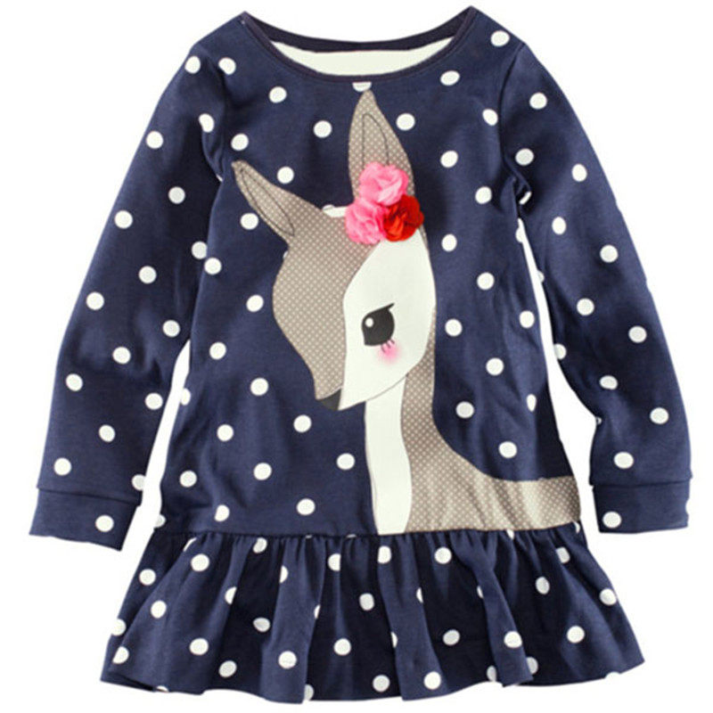 Baby Girl Clothes Kids Baby Girls Long Sleeve O-neck Dress One-piece Dots Deer Cotton Dresses Toddlers Clothes Kids Dress New baby girls knee length dress o neck full sleeve black&white striped child dresses new cotton kids clothes