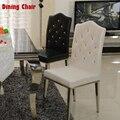 Новый 100% Нержавеющая сталь + Кожа стулья для столовой, гостиной обеденный стул, черный и белый, Металл кожаная мебель