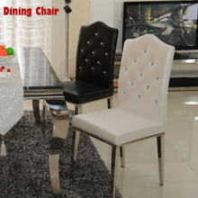 New 100% Stainless steel+Leather dining chairs,fashion living room dining chair,black and white,Metal Leather furniture