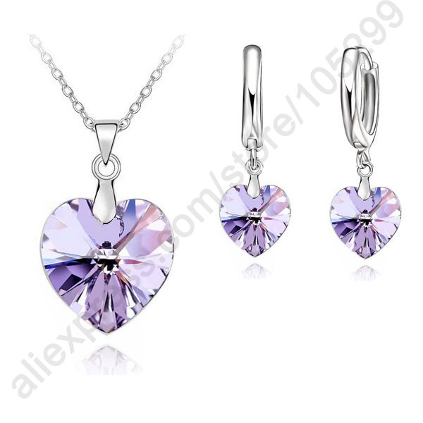 Romantic Violet Crystal Ocean Heart 925 Sterling Silver Pendant Necklace Earring Fine Jewelry Set With Lever Back Earring