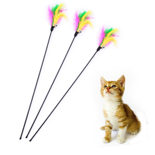 5pcs/lot Pet Toys Cat Supplies Length 60cm Soft Colorful Feather Bell Rod Toy For Kitten Tease Funny Playing Interactive