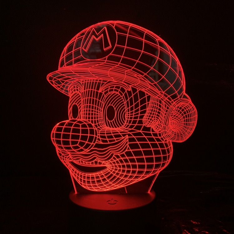 New Cartoon Game Figure Mario 3D Lamp Children's Gift Bedroom Night Light USB LED Multicolor Home Decorative Lighting Kid Toy