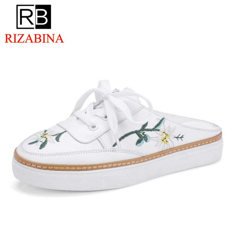 RizaBina Women Shoes Genuine Leather Flowers flats Women Shoes Fashion Casual Sneakers Vacation White Shoes Size 34-39 rizabina concise women sneakers lady white shoes female butterfly cross strap flats shoes embroidery women footwear size 36 40
