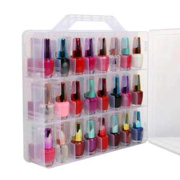 Portable and Clear Nail Polish Storage Box Double Faces Max capacity of 48 pcs adjustable Space Storage organizer of Nail Polish - DISCOUNT ITEM  0% OFF All Category