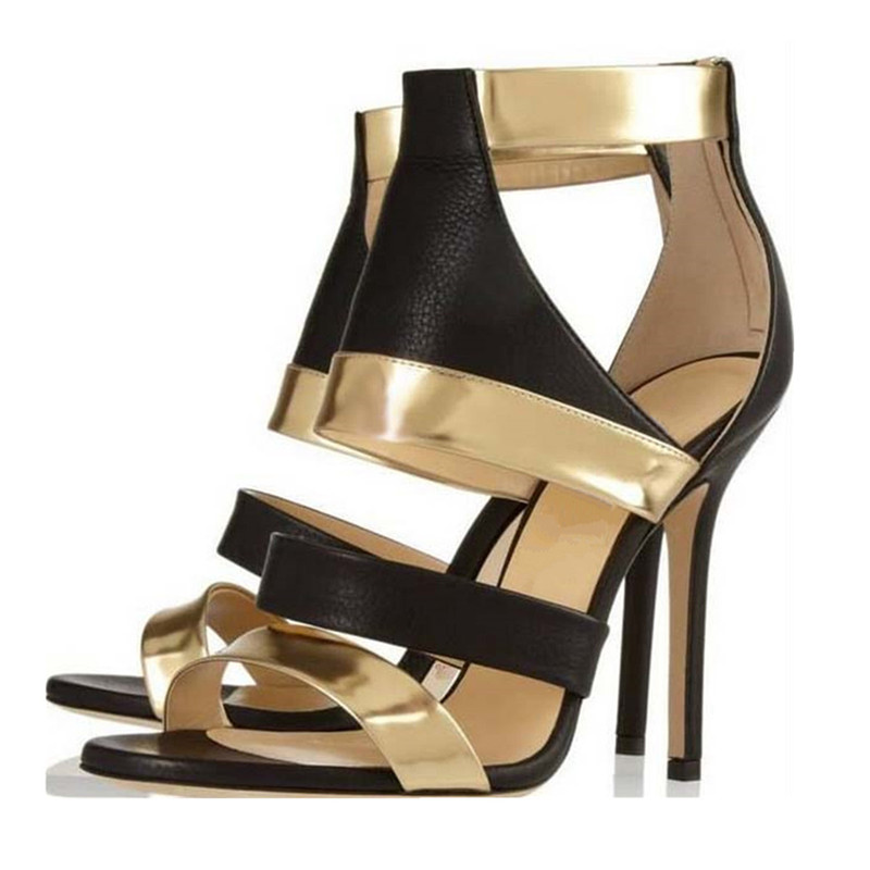 Fashion Black Gold Pathwork Summer Sandals Cutout Gladiator Sandals Sexy Ladies Sadalias Thin High Heels Party Dress Shoes Women