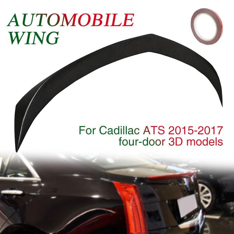 Углеродного волокна черный Спойлеры ствол заднее крыло хвост украшение автомобиля декор отделка спойлер автомобиля хвост крыло для Cadillac ATS