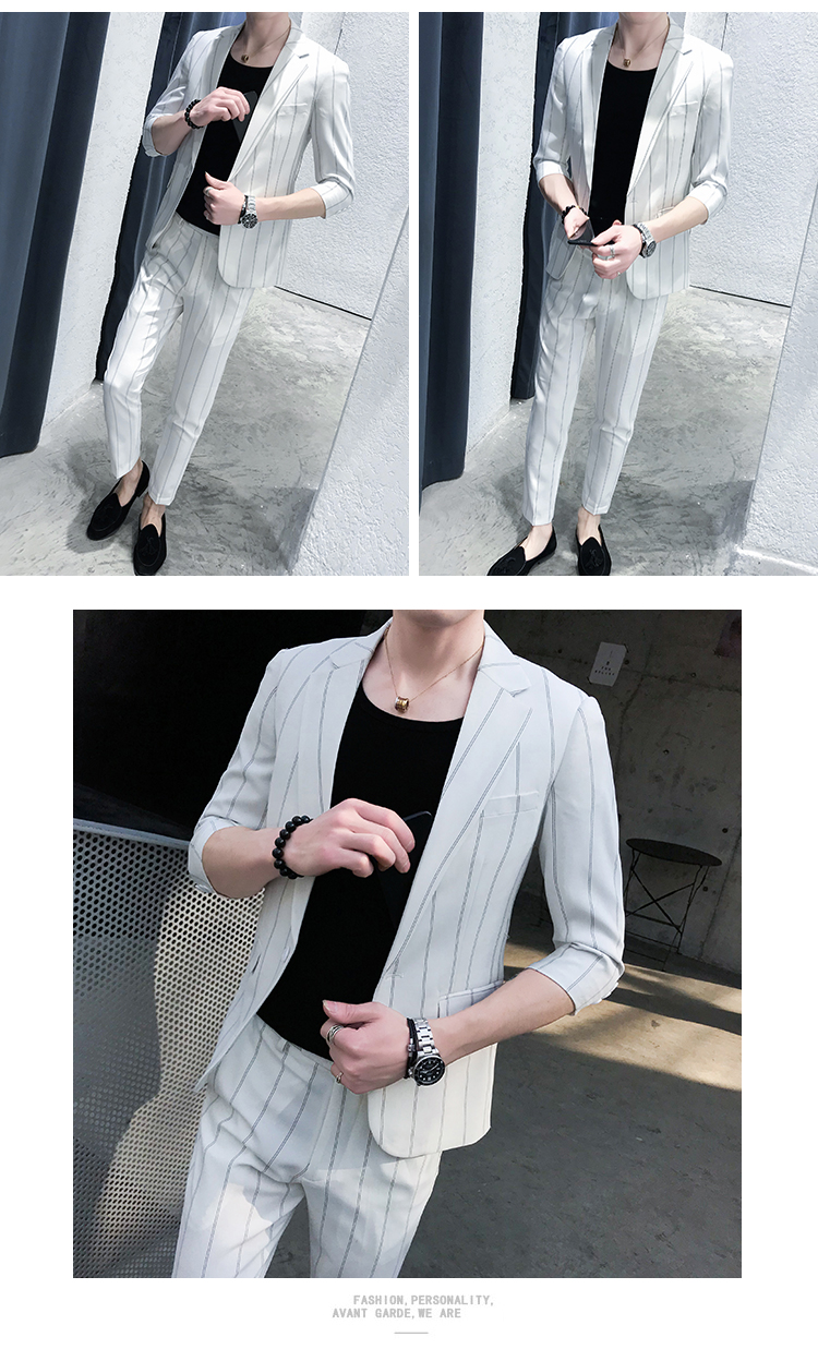 HTB1GgnkRwHqK1RjSZFPq6AwapXa3 custom Small Size Men's Wear Summer 2019 New Men's Middle Sleeve Suit Stripe Two piece Fashion Japanese Slim Suit