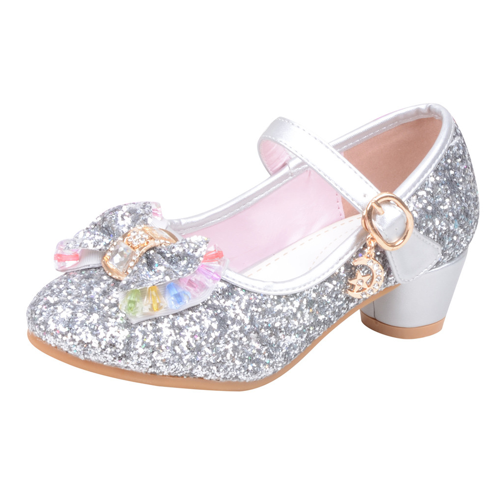 2019 Child girl Princess Shoe sequins rhinestone small leather shoe single  crystal shoes Zapatos de cristal #YL