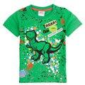 Novatx nova bebés meninos t-shirt verde com bordar fresco dinosaur meninos nova crianças dos miúdos roupas de manga curta t-shirt de algodão