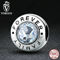 VOROCO New Arrival Classic 925 Sterling Silver Family Forever, Clear CZ Bead Charm Fit VRC Bracelets Fashion Jewelry S378