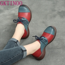 GKTINOO Genuine Leather Women Pumps Lace Up Casual