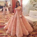 Luxury Chic Peach Color Ball Gowns Puffy Elegant Prom Dresses Lace Formal Party Dress Sweetheart Short Cap Sleeves Prom Gowns