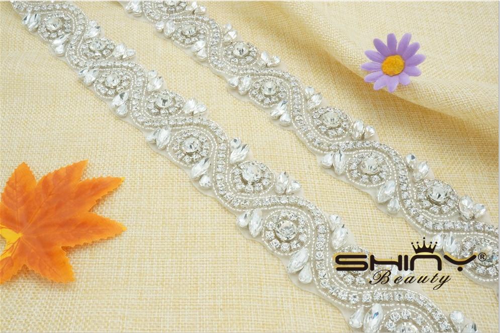 Professional Bling Wedding Dress Sash Rhinestone Applique Bridal Belt Crystal Appliques Trim For Wedding Dresses Belt