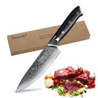 "SUNNECKO Chef Knife Kitchen Knives 6.5"" inch Cook Cutter Tools Japanese Damascus VG10 Steel Razor Sharp 60HRC Blade G10 Handle"