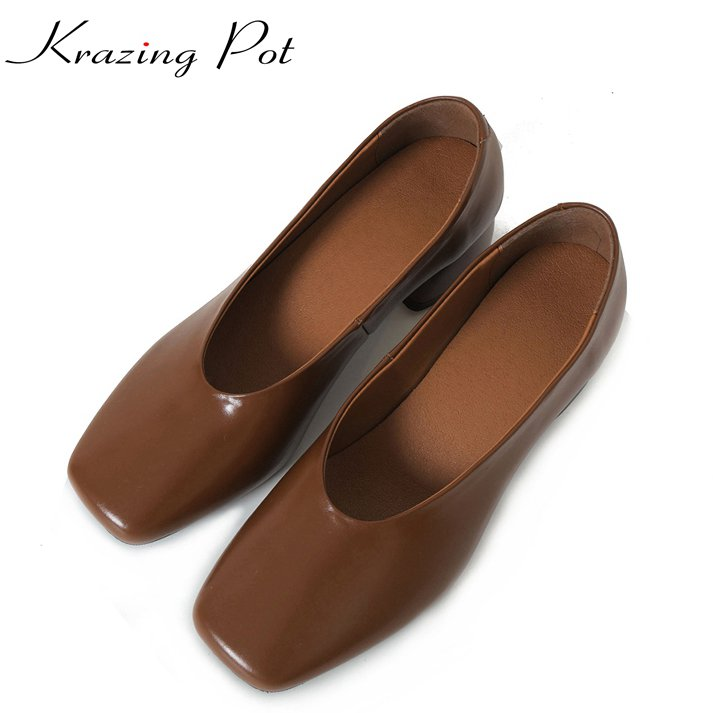 krazing Pot genuine leather slip on streetwear glove grandma shoes pumps women thick high heels square toe cozy lazy shoes L02 2017 krazing pot shoes women fashion med heels genuine leather pearl pumps slip on lady shoes square toe nude work pumps l3f2