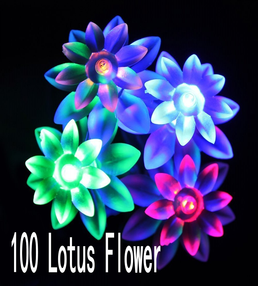 100 LED Lotus Flower Lighting Decoration for House Christmas Garden Party Patio Lawn Fence Holiday and Festival Celebration