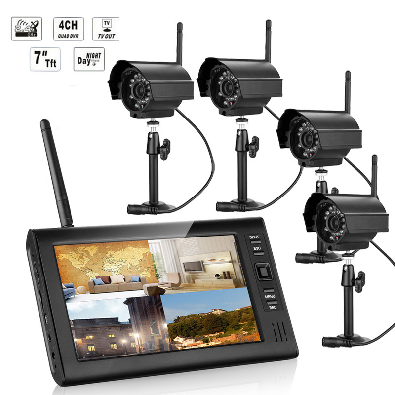 "2.4G 4CH QUAD DVR Security CCTV Camera System Digital Wireless Kit Baby Monitor 7"" TFT LCD Monitor+ 4 Cameras"