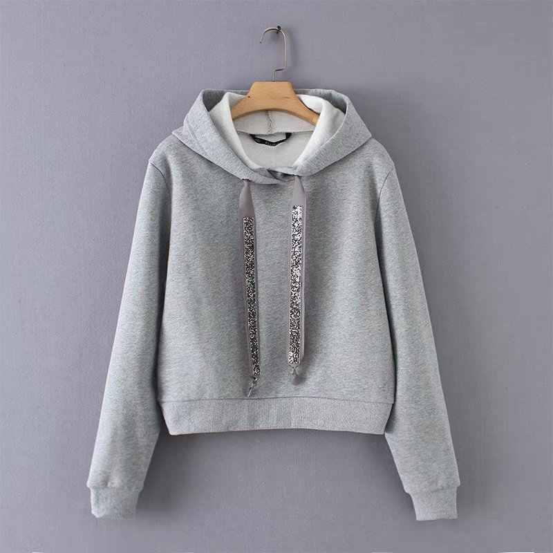 WY1810 Women Brief Gray Color With Hooded Bling DrawString Sweatshirt  Ladies Casuam Match All Hooded Jumpers 0d412ba9c7f8