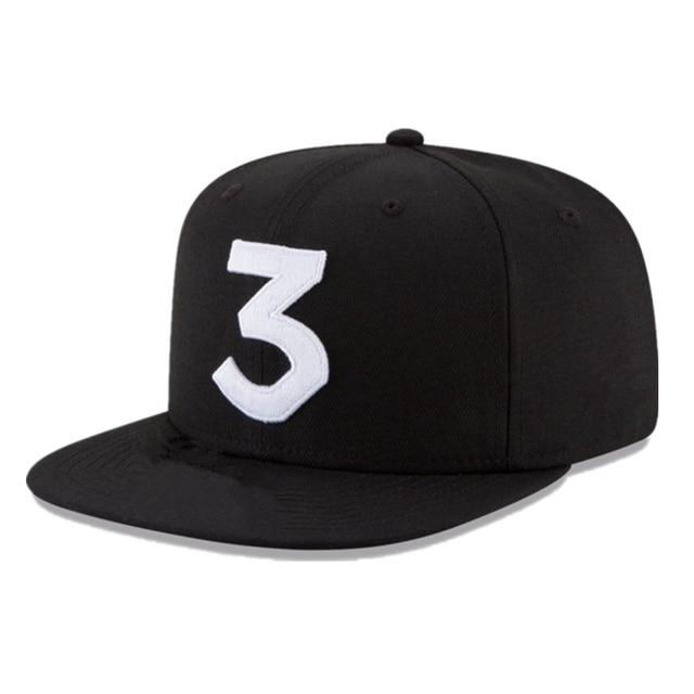 Popular chance the rapper 3 Hat Cap Black Embroidery Baseball Cap Hip Hop Streetwear Strapback Snapback Sun Hat Adjustables