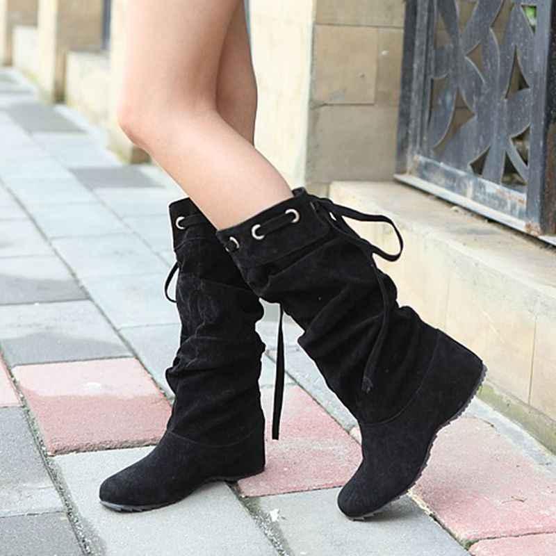 Осенний стиль; облегающие Женские сапоги до колена botas masculina zapatos botines mujer chaussure femme, женские ботинки, A-1